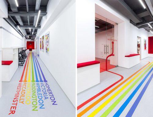 خطوط رنگارنگ با الهام از متروي لندن راهنماي دانشجويان به كلاس
